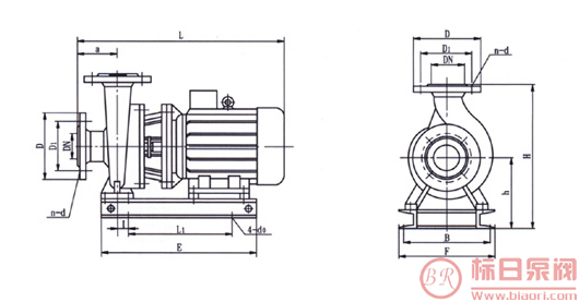 标日牌ISW型卧式管道离心泵安装尺寸:-标日牌ISW型卧式管道离心